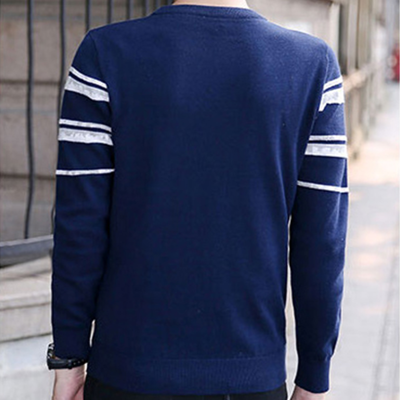 Sweater men winter white stripe sweater teenagers casual sweater blue fashion style thin fall sweater for men