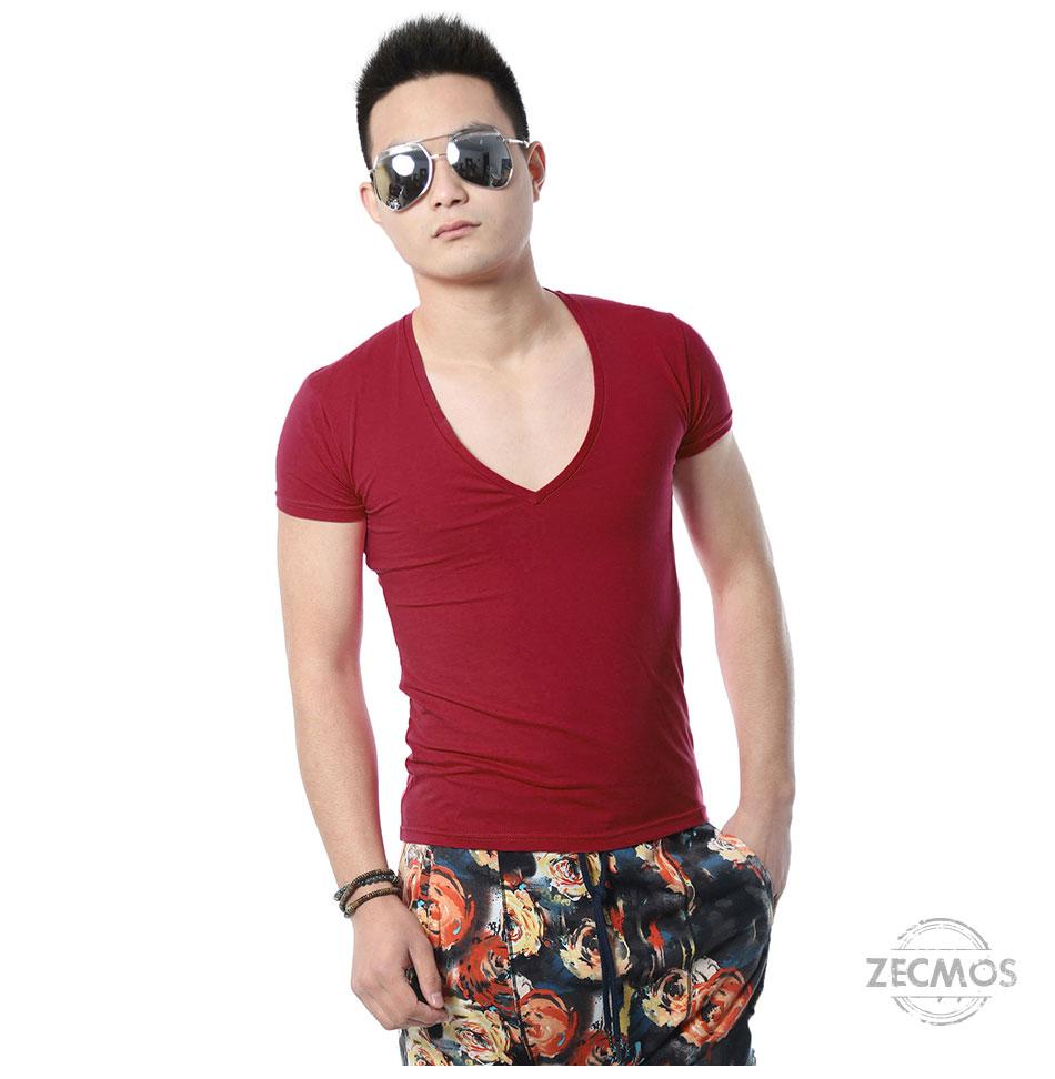 Zecmos Deep V Neck Sexy Men T-Shirt Vintage Short Sleeve Solid Color Muscle Fit T Shirt Men Top Tees Fashion 15