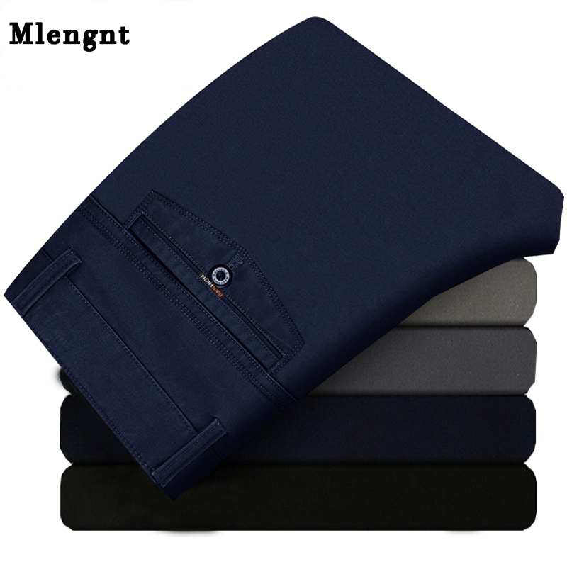 Men Straight Leisure Suit Pants Spring Autumn Male Casual Classic Stretch Zipper Brand Business Baggy Office Formal Trousers