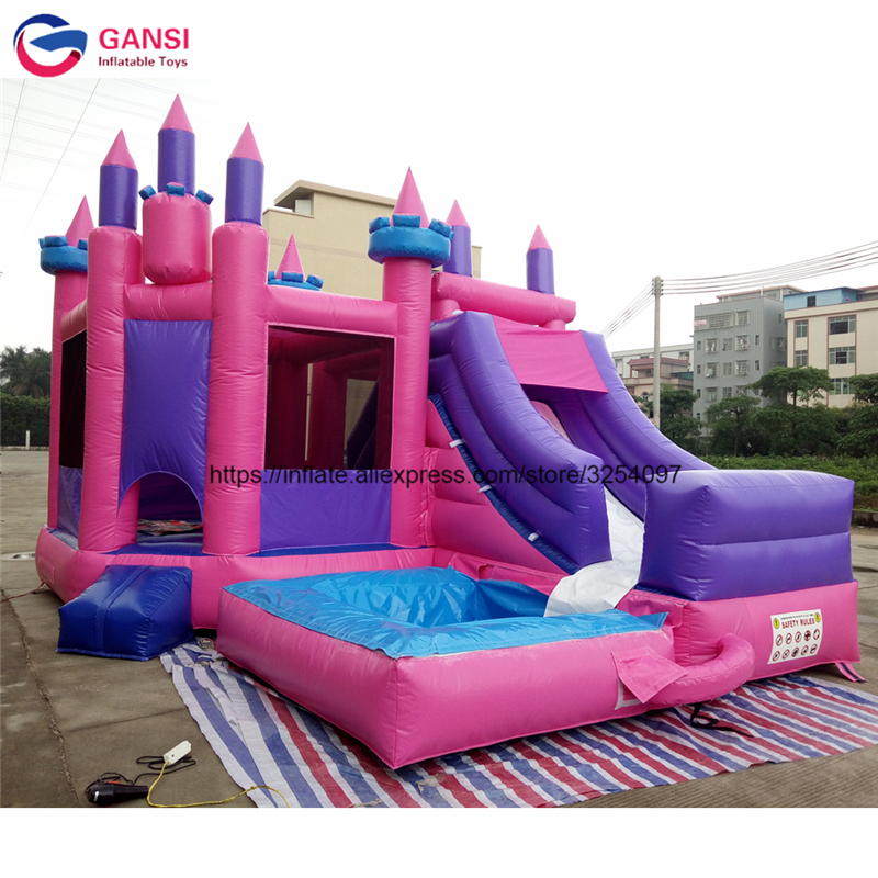 2017 New design 0.55mm pvc inflatable jumping castle inflatable bouncy castle with slide yard new large size inflatable slide and with area for kids to play bouncy castle amusement park
