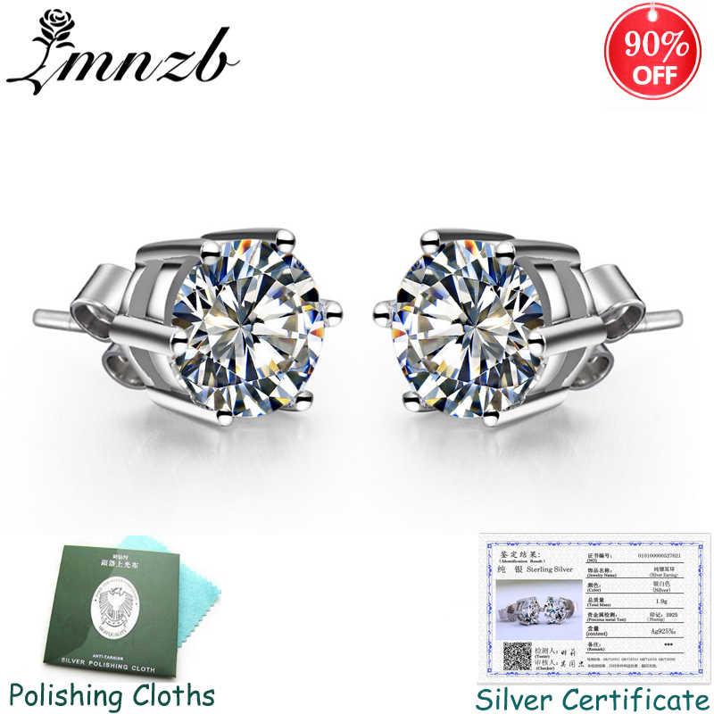 90% OFF! Sent Certificate! Original Solid 925 Silver Stud Earrings for Women Solitaire CZ Zircon Wedding Earrings Jewelry ZSE003