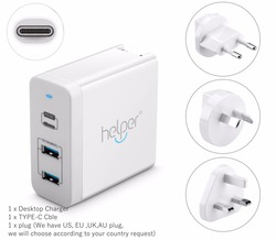 USB-C Charger Power Delivery QC 3.0 Type-C PD 3 Port Fast Charger for NEW Macbook samsung HP DELL ACER ASUS L
