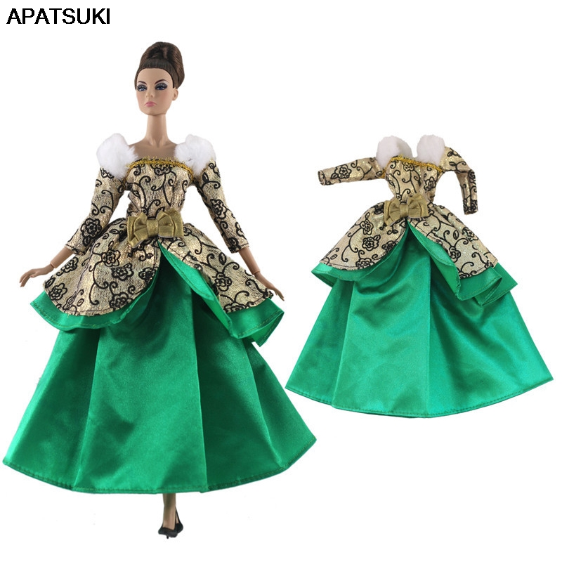 Green Gold Fashion Doll Clothes For Barbie Doll Princess Gown 1/6 Doll Accessories Party Dress For Barbie Doll Outfits Kids Toy