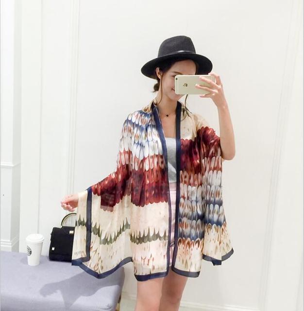 2016 estilo Europeo Marca Bufandas y Chales para Las Mujeres de Diseño de Moda 100% Bufanda de seda de Estilo Artístico Envuelve