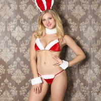 Новинка 2017 красный кролик костюм для девочек сексуальное бикини рождество Fun Нижнее белье для взрослых для женщин новый год партия секс; рож...