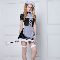Adult Women Sexy French Maid Cosplay Sexy Halloween Costumes New Hot Women Room Service Maid Cosplay Exotic Maid Outfits 6008