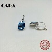 CARA Nowy 3 kolory luksusowe plac dla SWAROVSKI kamień Panie kolczyki 925 sterling silver hoop kolczyki dla kobiet biżuteria CARA0106