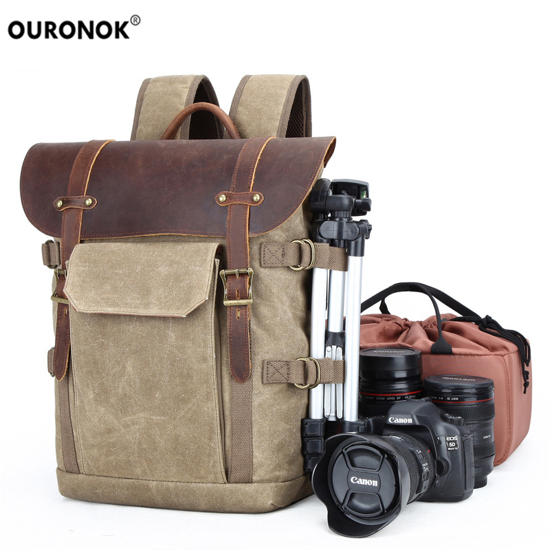 Color : Brown, Size : L Bag Outdoor Leisure DSLR Photograph Waterproof Waxed Canvas Messenger Camera Bag with Vintage Leather Strap