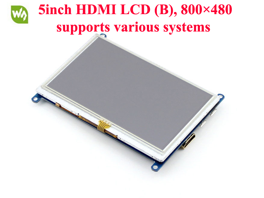 5inch HDMI LCD (B) 800*480 Resistive Touch Screen LCD Display Module Supports Raspberry Pi 3B/2B A/A+/B/B+ Banana Pi BB Black wareshare replacement 4 lcd touch screen module for raspberry pi model b b blue