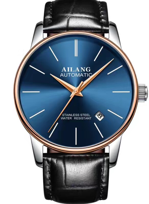 New Arrival AILANG Simple Business Watch Cool Blue Glass Men Watches Automatic Calendar Watches 316L Leather Montre homme W195 foreign explosions men s alloy watch blue glass three belt watch a generation of hair