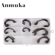 Anmuka 80pcs High-carbon Steel Crank Hook With Boxs Lure Angle Worm Soft Bait Grub Jig Fishhook Circle Type Fishing Equipment