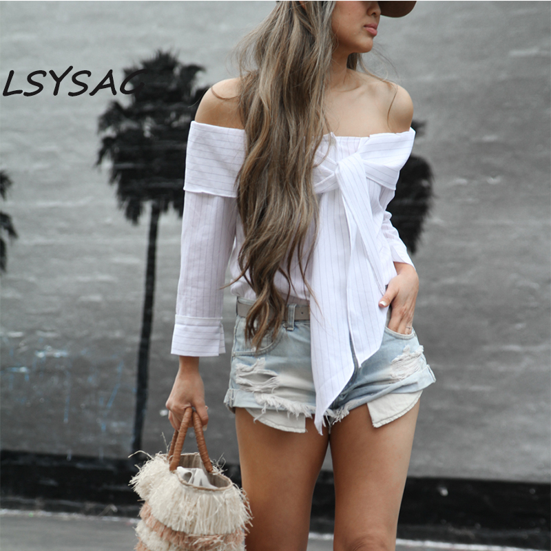 Mode Lsysag De Plage Élégant Pour Vêtements Bande Femelle Dames Chemises Blouse Bowknot Tops White Blanc Femmes Encolure Sexy 2018 Ol O1qxOrfw7