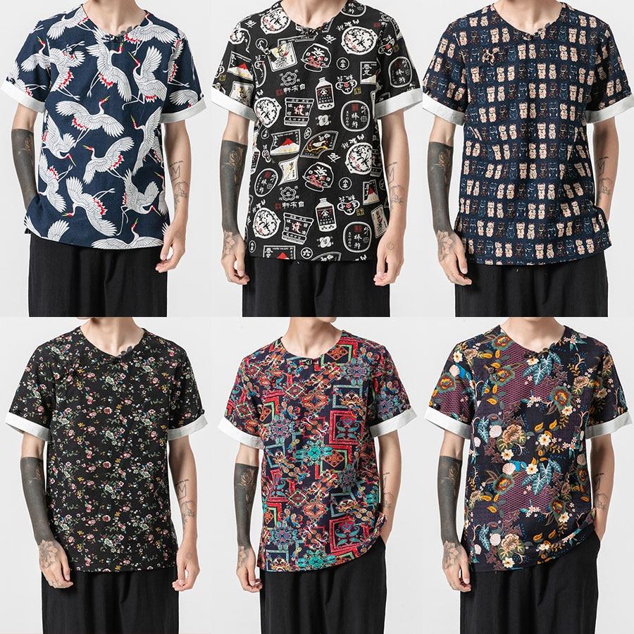 Sinicism Store Summer Men Crane Print Harajuku Tshirts 2019 Mens Vintage Japan Streetwear T-shirt Retro Tees Funny Plus Size