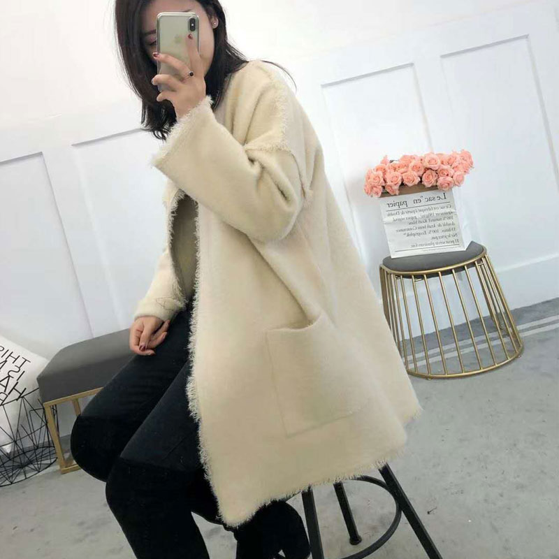 Cardigans brown ivory Long Cou Nouveau Ouvrir Black Mode Kintted Lâche Manteau Femme Longues V Chandail Pull Femelle Manches Solide Point fwEqw1A