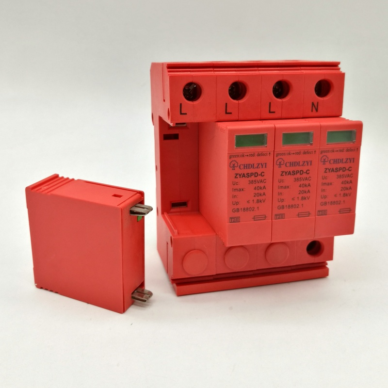 WY5-C/40 SPD 3P+N 20KA~40KA ~385VAC House Surge Protector Protection Protective Low-voltage Arrester Device spd 1p n 20ka 40ka c 385vac house surge protector protection protective low voltage arrester device