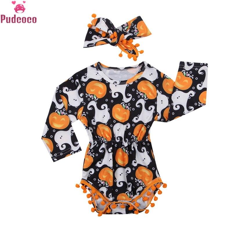 Cute Halloween Pumpkin Newborn Long Sleeve Romper Baby Jumpsuit Bodysuit Clothes