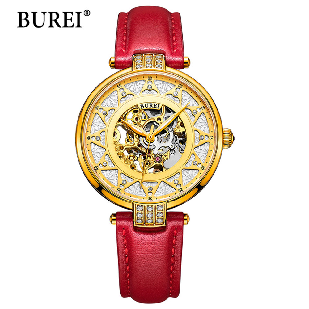 2017 New BUREI Skeleton Movement Rose Golden Dial Sapphire Lens Automatic Watch For Women With Red Leather Strap Wristwatch new arrivel white dial mens automatic skeleton mechanical watch with two movement freeship