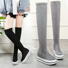 купить NAYIDUYUN   Women Shoes Cow Leather Stretch High Heel Over The Knee Long Boots Wedge Platform Punk Sneakers Balck Grey Creepers дешево