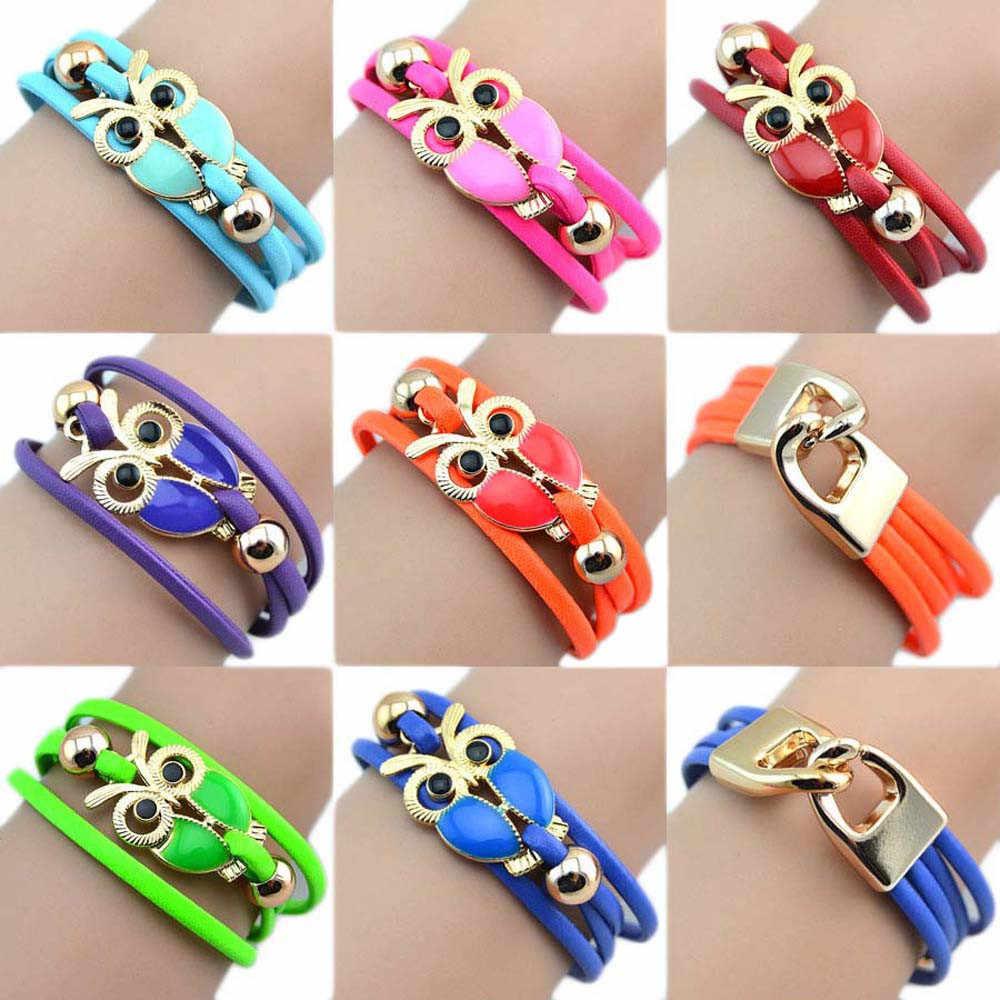 Stylish Wild Bracelet Fashion Women Bracelet Jewelry Owl Friendship Multilayer Charm Leather Bracelets High Quality Gifts  L0330