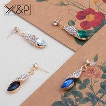 X&P Fashion Rhinestone Statement Alloy Gold Long Drop Earrings for Women Girl Water Drop Austria Green Crystal Earring Jewelry