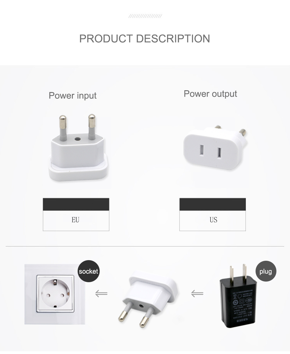 1PC US To EU Plug Safety Gate Valve Charger Outlet Adapter Converter 2 Round Pin Socket USA To Europe Travel Wall AC Power Plug (4)