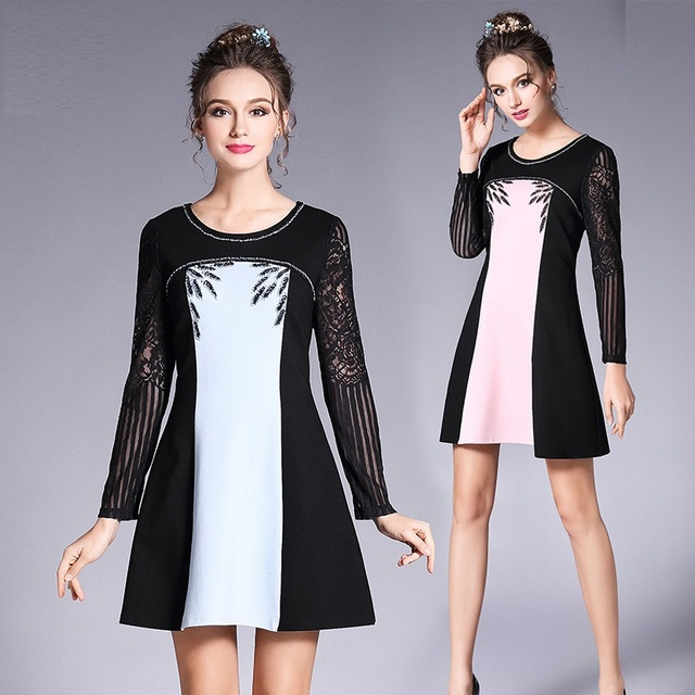 2017 lente vrouwen elegant dress kralen kant patchwork contrast kleur a-lijn dress junior party dress vestido plus size xxxxxl3677