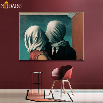Arte clásico reproducción artista Magritte el beso carteles e impresiones lienzo arte pintura cuadros de pared para la decoración del hogar