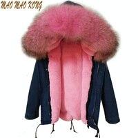 Горячая 2018 новый большой енота меховым воротником джинсовые пальто для женщин зимняя куртка Жeнскaя зимняя кyрткa Женщины куртка толстый вну