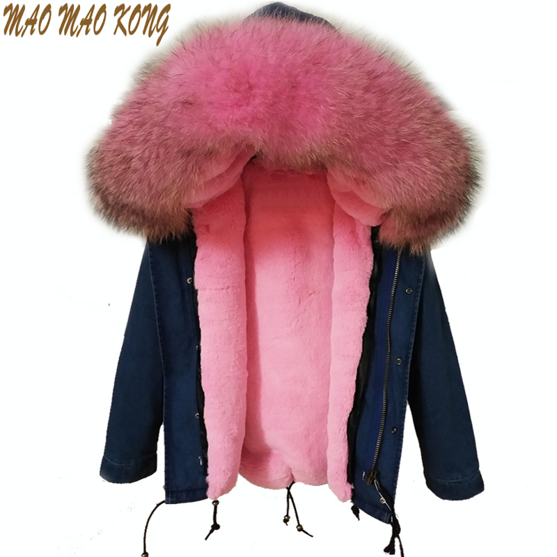 Hot 2017 new big raccoon fur collar denim coats for women winter jacket women winter coat women parka Thick lining ukraine 2017 winter new clothes to overcome the coat of women in the long reed rabbit hair fur fur coat fox raccoon fur collar