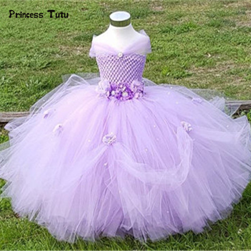 0-14Y Flower Girl Princess Dress Kid Party Pageant Wedding Bridesmaid Tutu Dress Pink Lavender Kids Dresses For Girls Tulle Gown flower girl princess dress 2017 new fashion kid party pageant wedding bridesmaid ball bow white dress 2 4 6 8 years xdd 3271