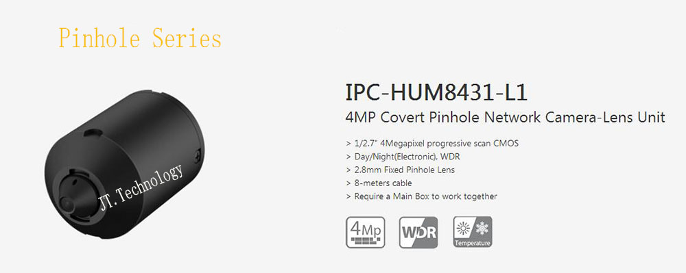 Dahua Free Shipping Security CCTV 4MP Covert Network Camera-Sensor Unit without logo IPC-HUM8431-L1 Work With IPC-HUM8431-E1 dahua ipc hum8230 2mp covert pinhole network camera ip camera main device sensor unit l1 l3 optional