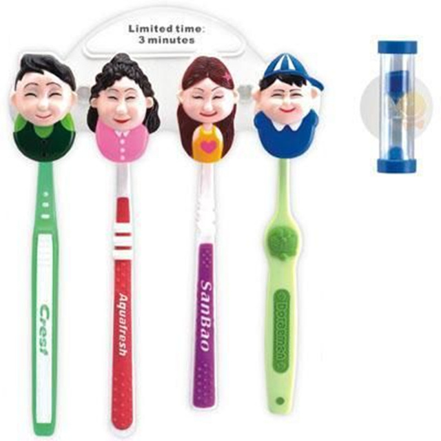 Happy family cartoon hourglass toothbrush holder with sucker classification portraits Toothbrush storage rack for bathroom kit