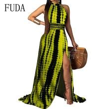 FUDA New Womens Sexy Halter Maxi Dress Tie Dyed Rainbow Print Sleeveless High Slit Summer Elegant Floor-length