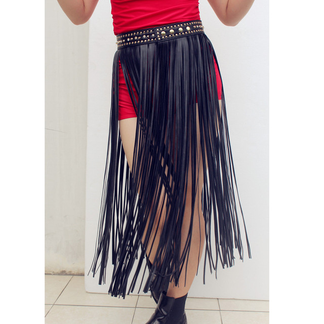 e57f7a6208d802 Hippie Designer Geïnspireerd Goud Klinknagel Riem Zwart Kunstleer Extra  Lange Fringe Tassel Rok Riem