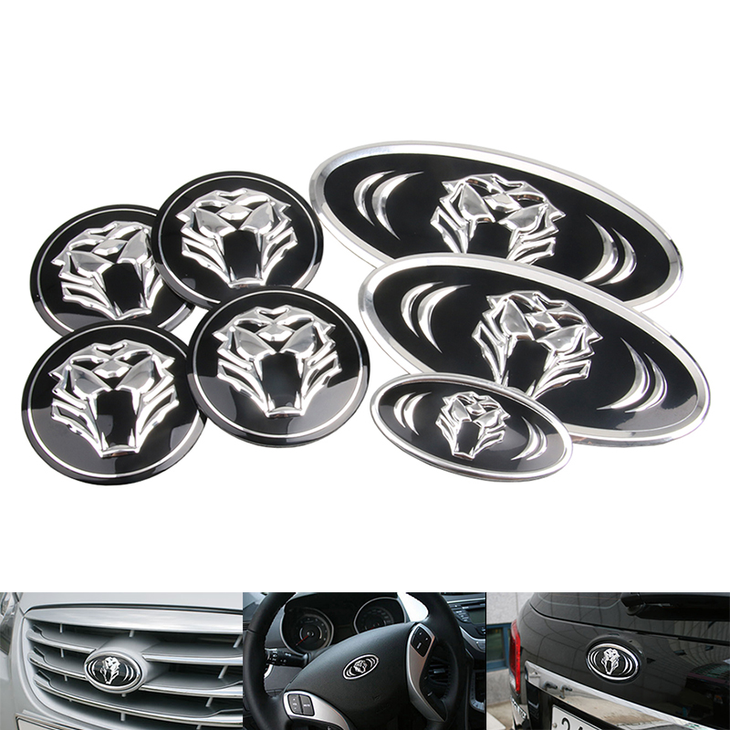 7Pcs Car tiger Logo Front&Rear Emblem Badge Sticker Front Rear Trunk Steering Wheel Emblem Badge For Kia K7 K5 K3 K2 car styling new product factory price high quality steering wheel audio control buttons for kia k2 rio steering wheel button