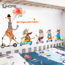 Cartoon Animal Family Giraffe Lion Fox Wall Stickers for Kids Room Wall Decoration Bedroom Children's Bedside Wallpaper