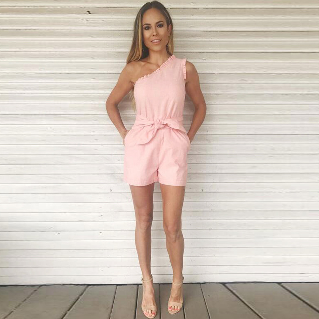 YJSFG HOUSE Sexy One Shoulder Short Jumpsuit Rompers Women One Piece Slim Bandage Bodysuit Playsuit Solid Pink Summer Catsuit