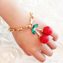 Free Shipping! Fashion Big Red Cherry Charm Gold Chain Bangle Bracelets for Women Jewelry Gifts