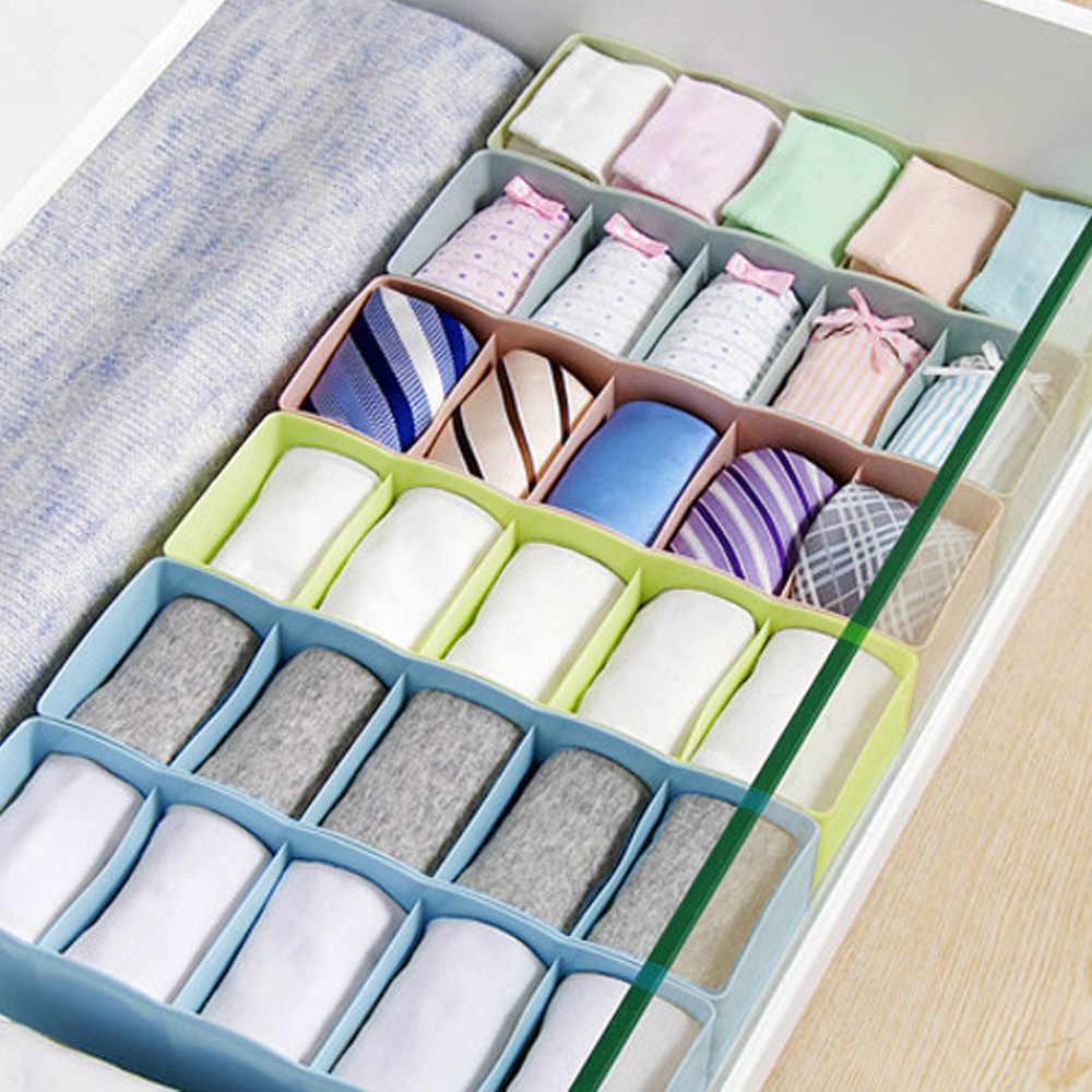 5 celle di Plastica Scatola di Immagazzinaggio Dell'organizzatore Tie Bra Calzini e Calzettoni Cassetto Cosmetici Divisore Tidy storage box di alta qualità utile scatola di plastica