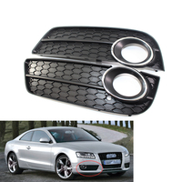 LH&RH Front Lower Bumper Fog Light Lamp Grille Grill Honeycomb for Audi A5 08 11 COUPE/SPORTBACK
