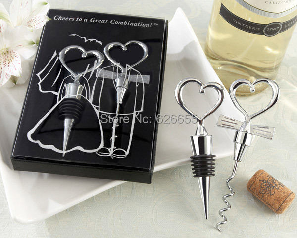 Wine opener 200pcs 100 SETS lot Personalized Cheers to a Great Combination Corkscrew and Stopper Sets