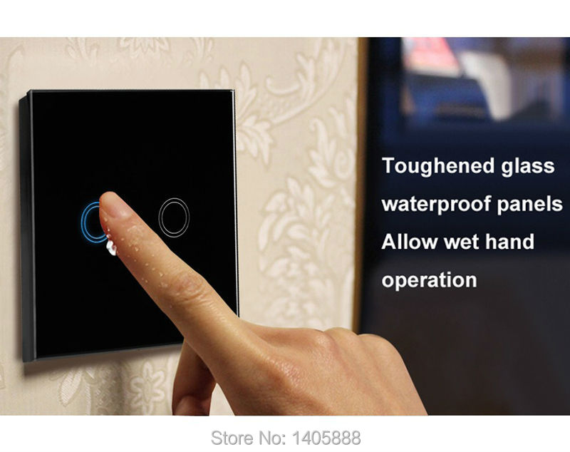2Gang UK Touch screen Glass panel remote RF433 switch/Smart home automation wall lamp plug for Broadlink geeklink Orvibo control broadlink tc2 us au uk eu 3gang switch smart home automation phone remote wireless wall light touch switch crystal glass panel