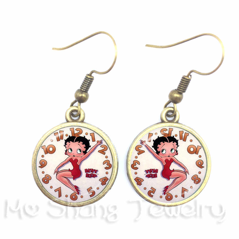 2018 Lovely Romance Betty Boop Series Pattern 16mm Round Glass Cabochon Handmade Dangle Earrings For Glamorous women Girls Gift