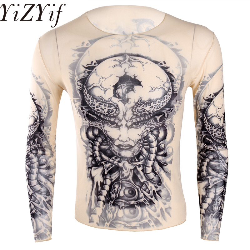 YiZYiF Fashion Mens Stretchy See Through Fake Tattoo Design   t     shirt   Top Long Sleeve O-Neck   T  -  Shirt   for Men's Halloween Party