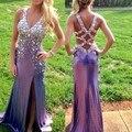2015 promoção longo A linha de tafetá frisada perfurado aberto lado Sexy de fenda vestidos de festa vestidos de baile vestidos de festa