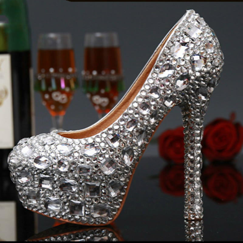 Women Wedding Shoes Crystal Silver Red Platform Pumps Bride Bridesmaid Shoes Sexy High Heels Wedding Party Shoes Big Size 43 big size 43 platform pumps sexy ultra super high heels 20cm patent leather sexy shoes women s party pumps wedding shoes nn 94