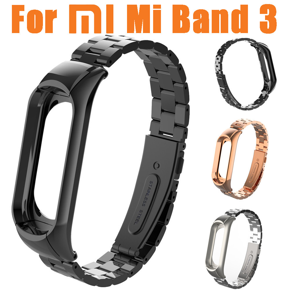 купить NEW Watchbands For Xiaomi Mi Band 3 Fashion Stainless Steel Luxury Wrist Strap Metal Wristband Mi Band 3 Watch Strap Band по цене 529.7 рублей