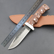 High quality manual Damascus steel forged straight knife hunting 62HRC hardness outdoor self-defense knife tactical