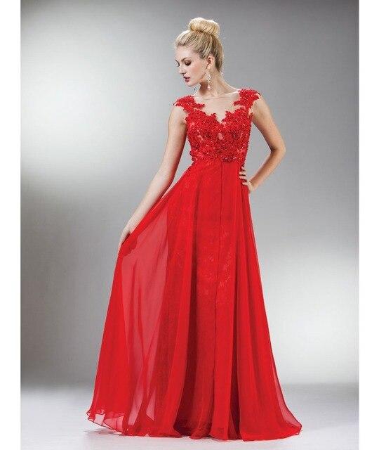 New Red Beaded Lace Mesh Cap Sleeve Long Prom Dress Chiffon Long ...