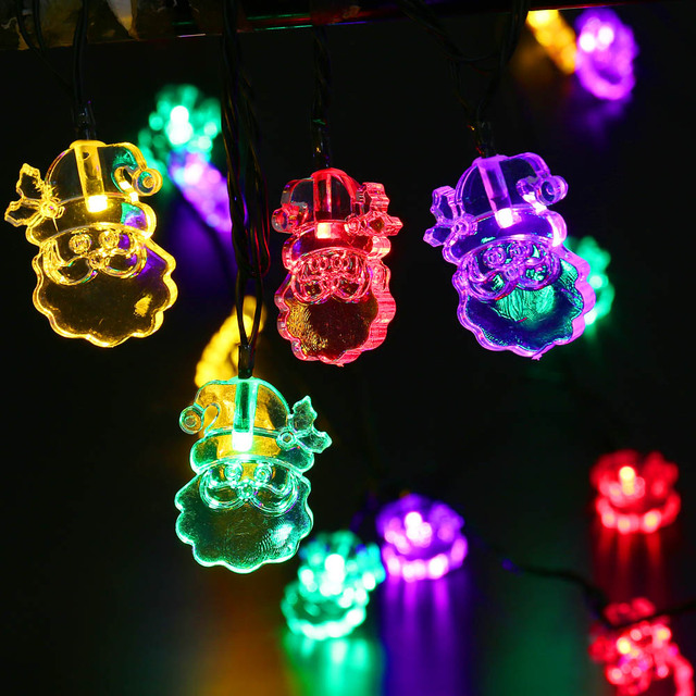 new arrive 48m 20 leds santa claus shape solar string lights rechargeable battery waterproof for